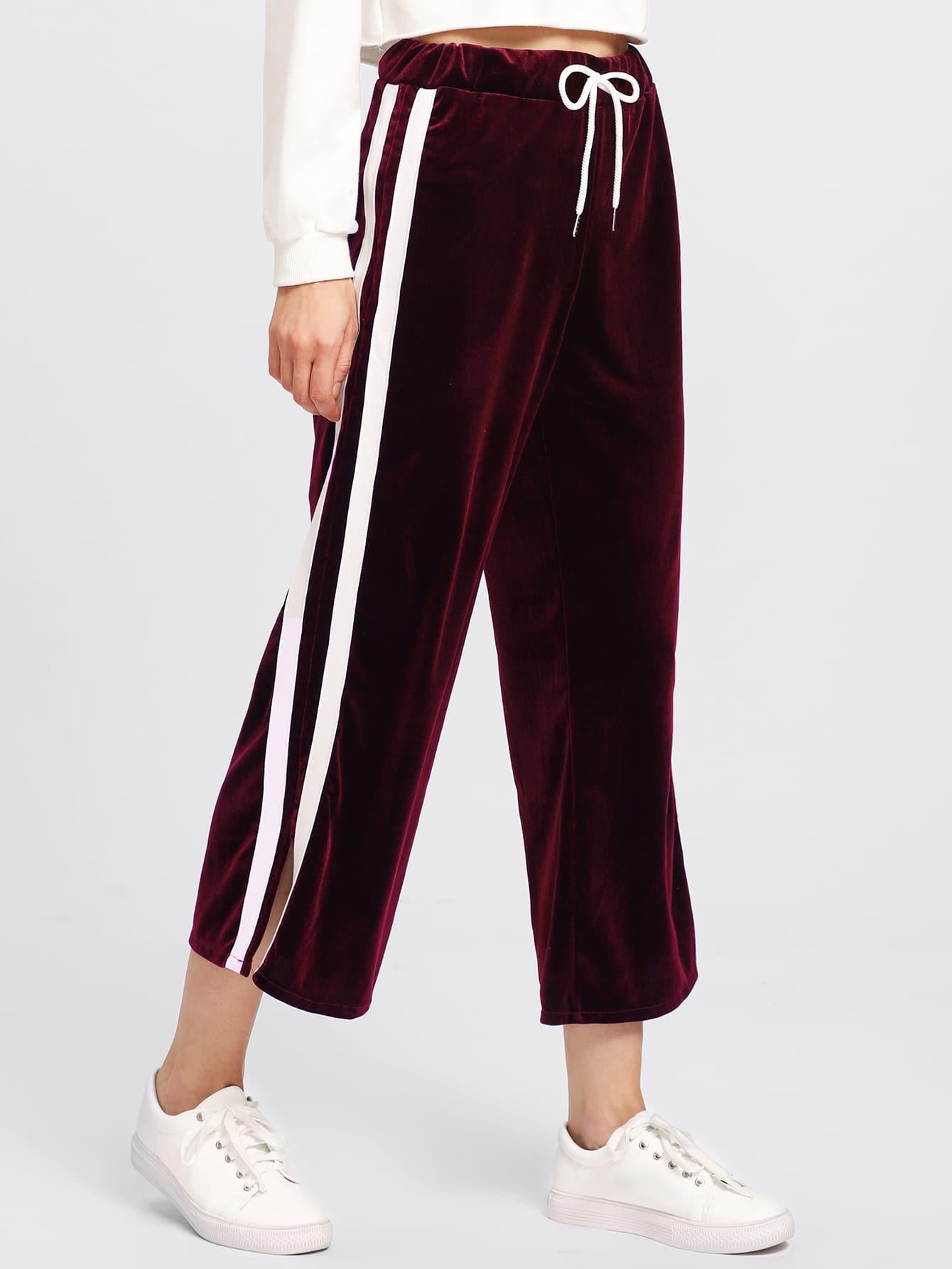 Side Striped Drawstring Waist Velvet Pants elasticized waist velvet pants