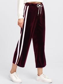 Side Striped Drawstring Waist Velvet Pants
