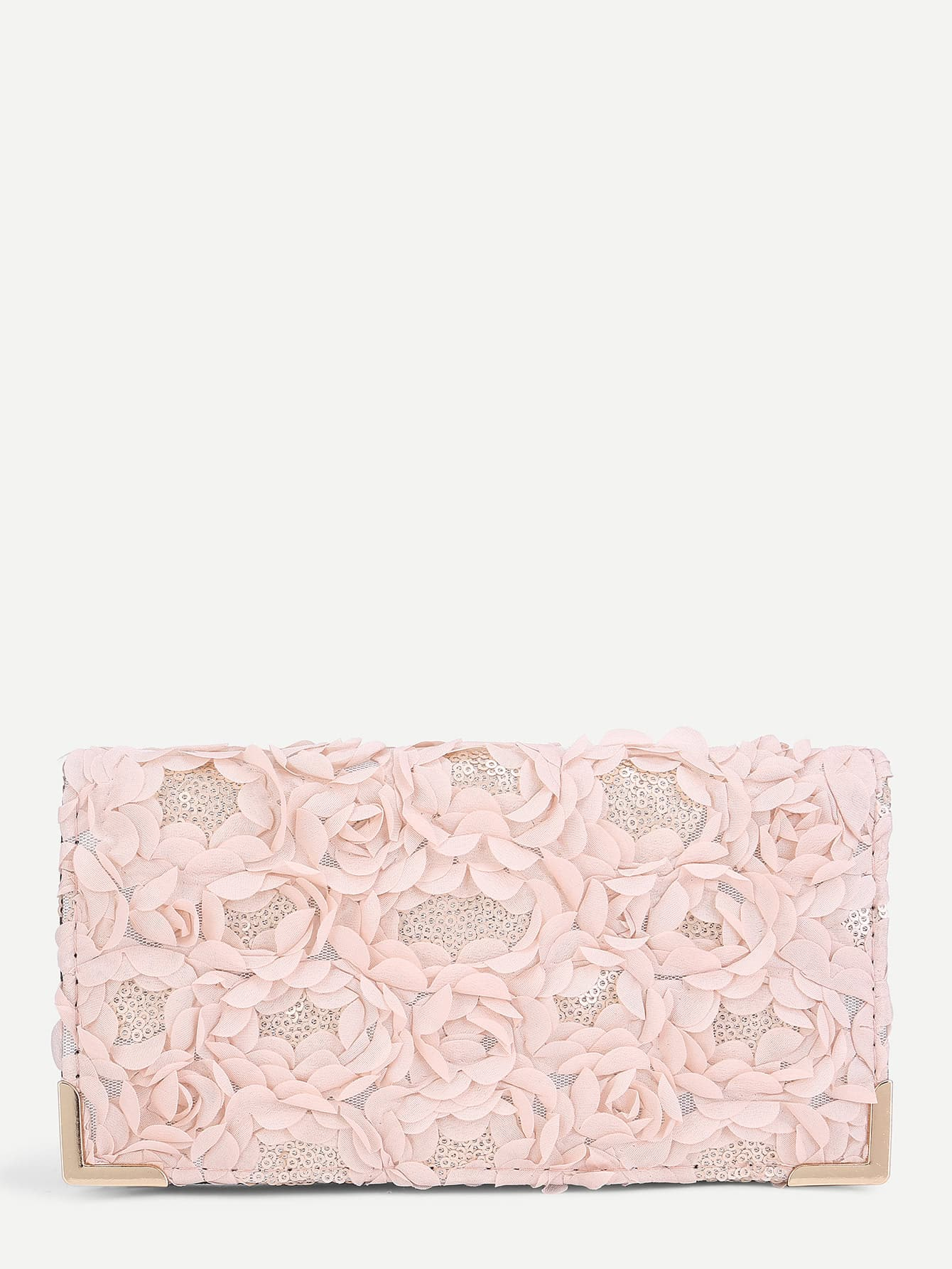 Flower Decorated Wallet With Sequin Detail