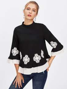 Pearl Beading Lace Applique Frilled Top
