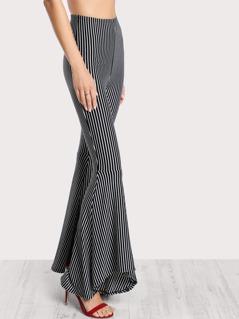 Striped Flared Bottom Pants BLACK WHITE