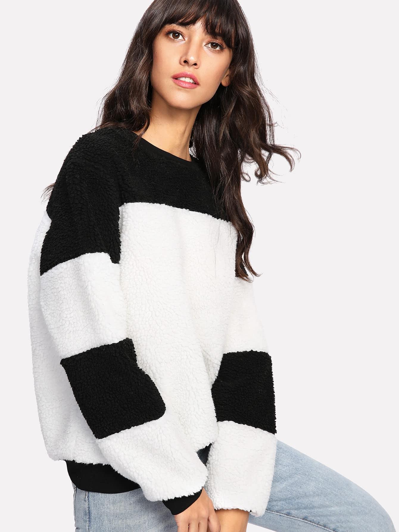 Two Tone Cut And Sew Sweatshirt
