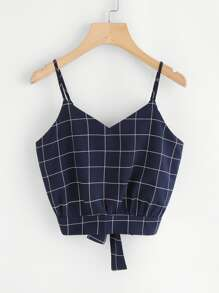 Checked Tie Back Crop Cami Top