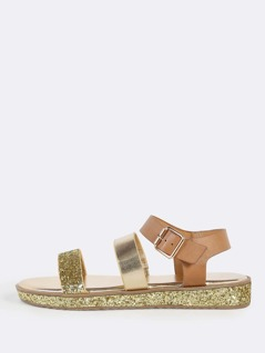 Mixed Media Ankle Strap Sandals GOLD