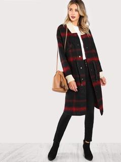 Plaid Contrast Collar Longline Coat RED