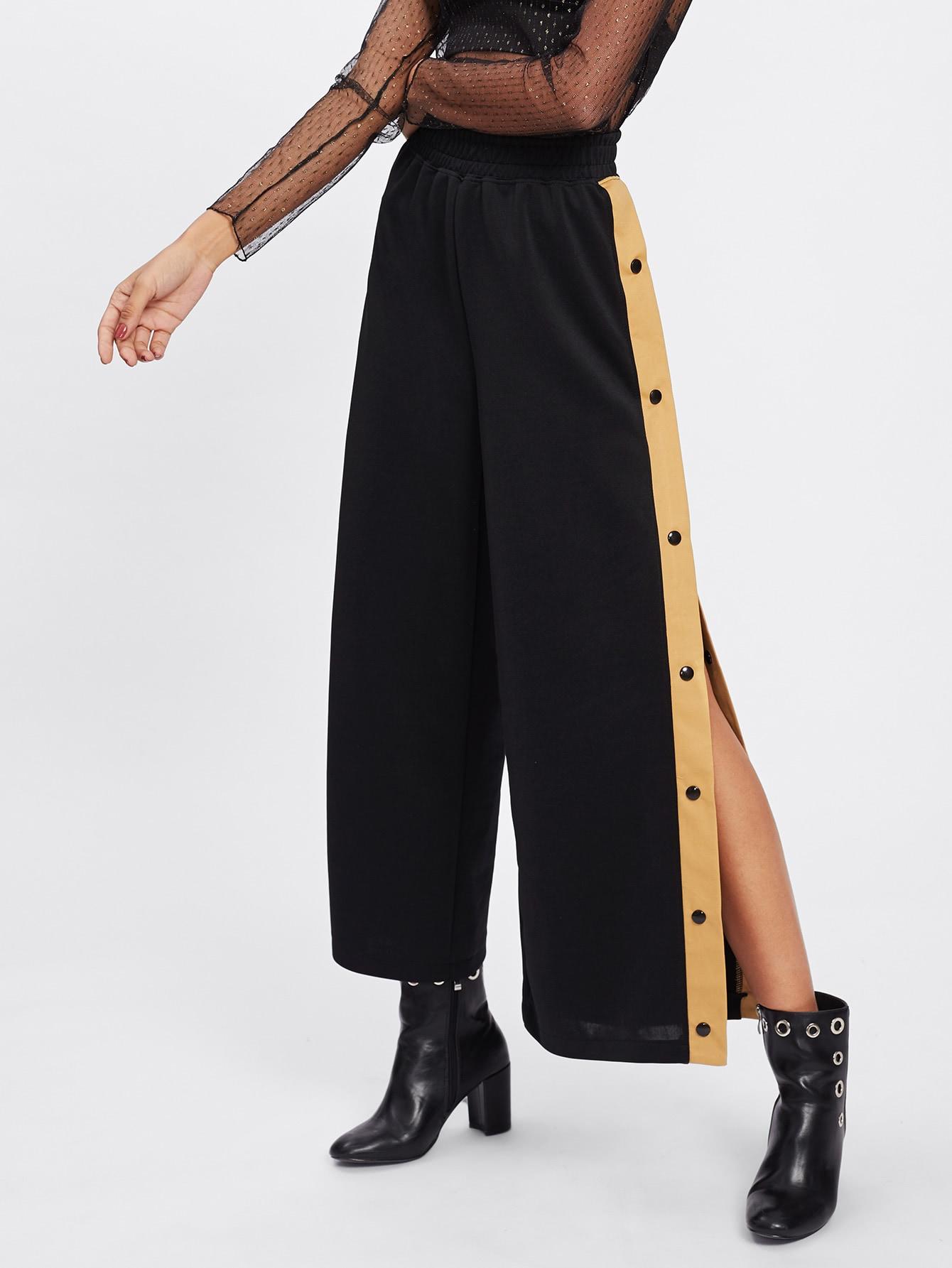 Contrast Snap Button Side Culotte Pants snap button striped side pants