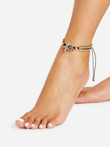 Starfish Detail Adjustable Anklet