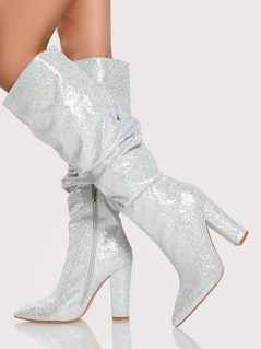 Glitter Slouchy Knee Boots SILVER