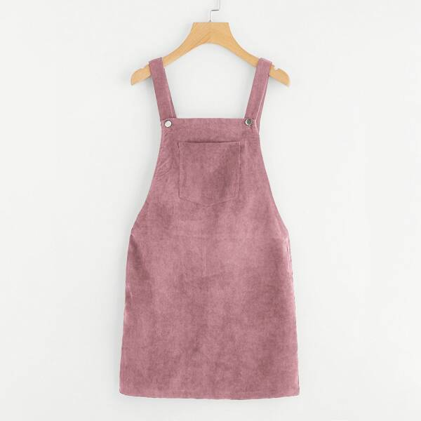 Pocket Front Overall Corduroy Dress, Pink pastel