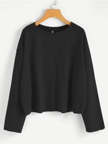 Drop Shoulder Raw Trim Sweatshirt