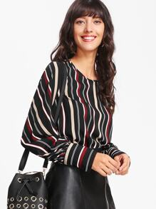 Wide Cuff Striped Top