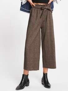 Pantalons jambe large découpé à carreaux avec des plis