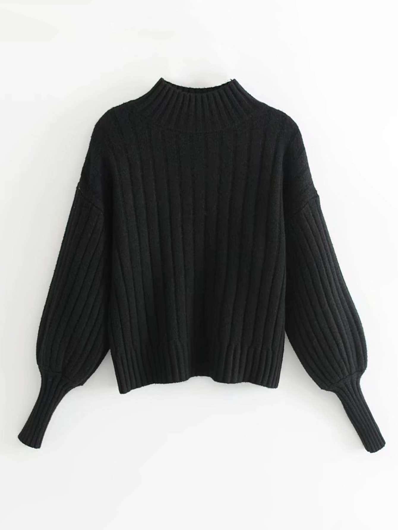 Lantern Sleeve Ribbed Sweater rkni171117202