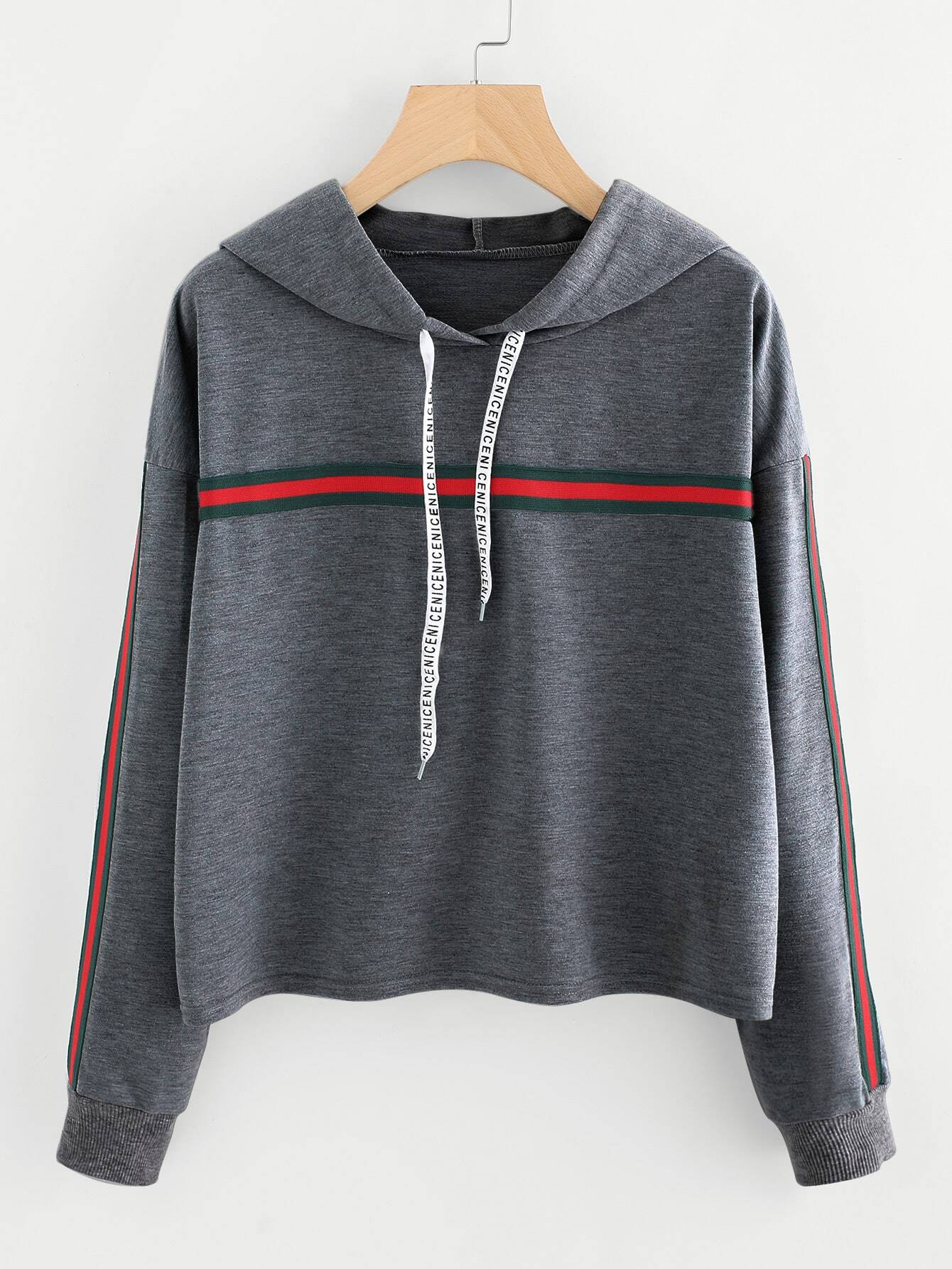 Striped Tape Detail Marled Hoodie striped woven tape detail two tone sweatshirt