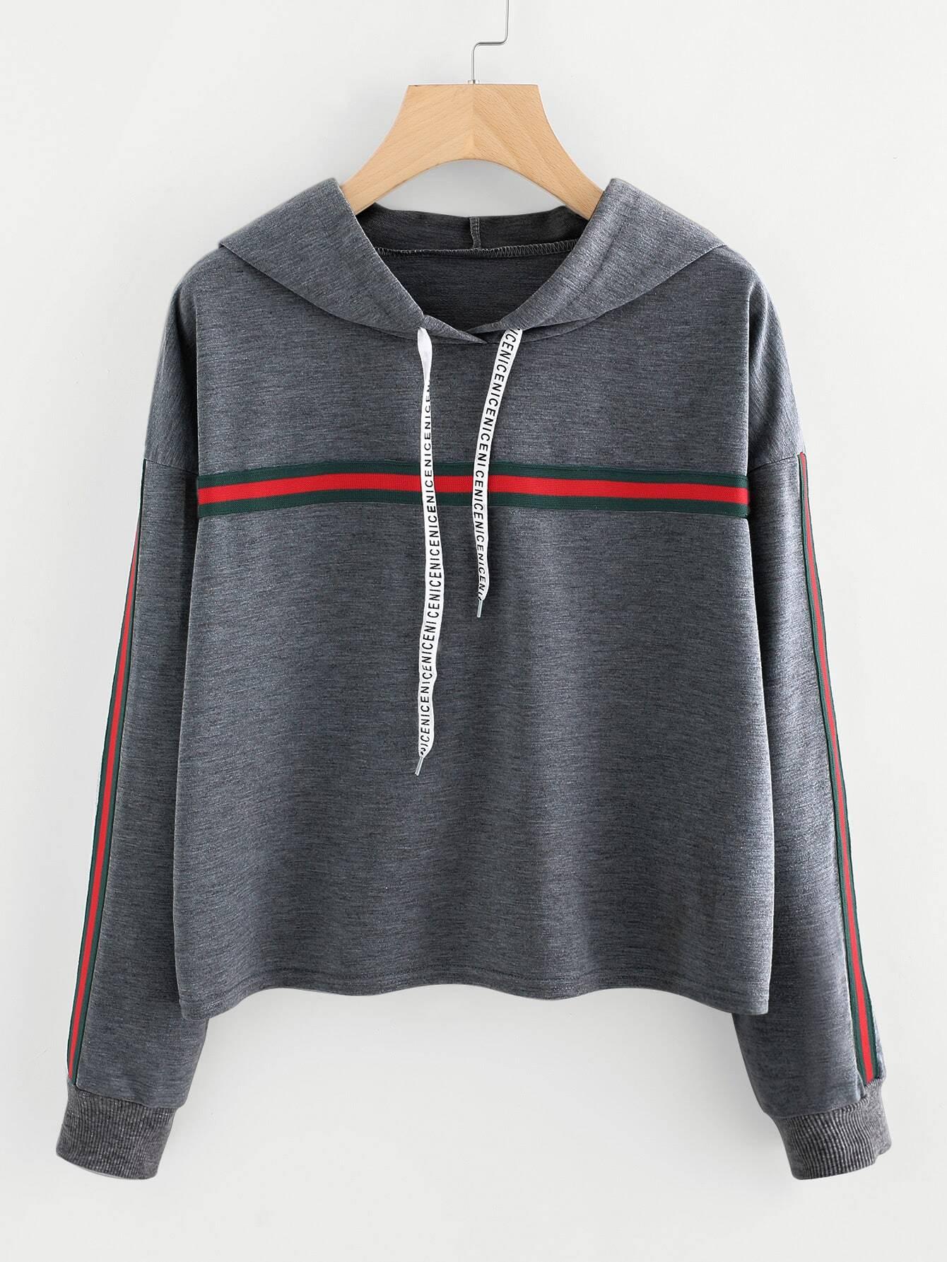 Striped Tape Detail Marled Hoodie tape detail drop shoulder marled sweatshirt