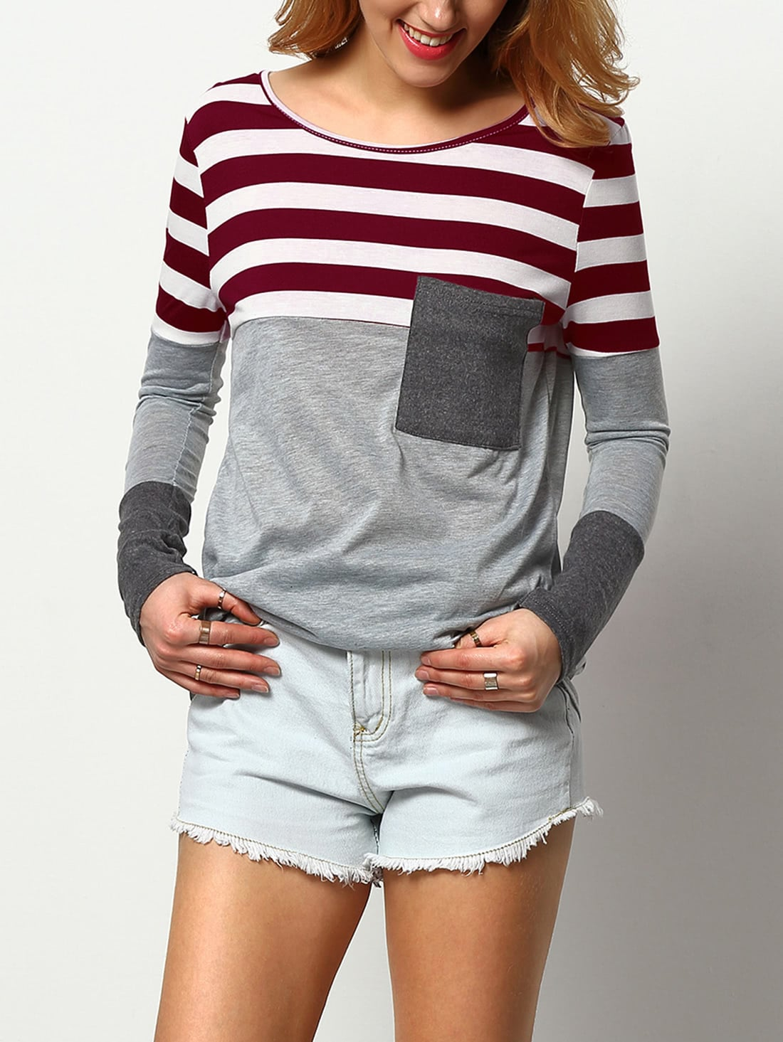 Contrast Stripe Cut And Sew Marled Tee