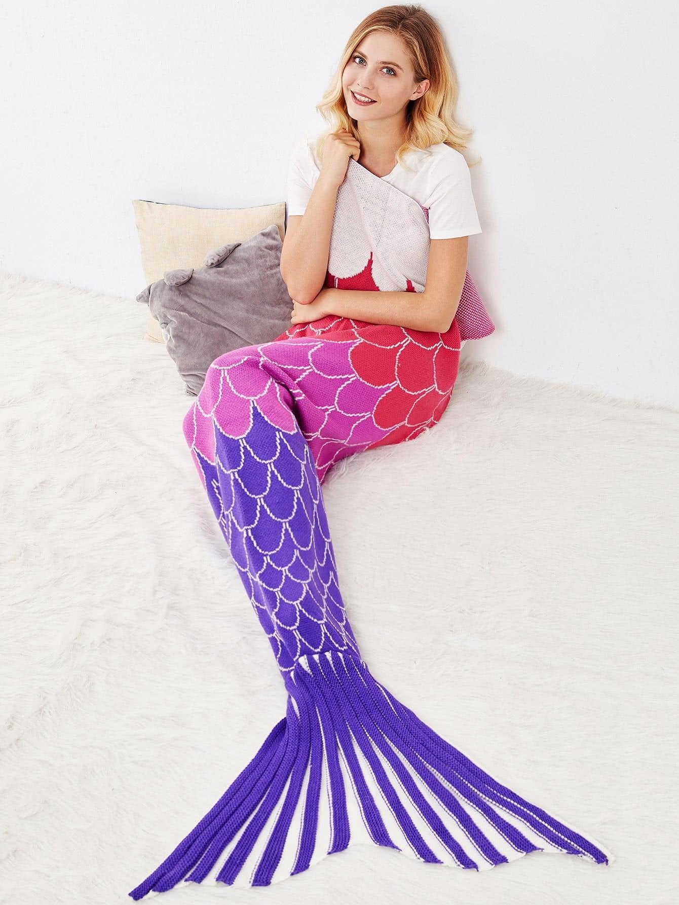 Multicolor Textured Fish Tail Mermaid Blanket