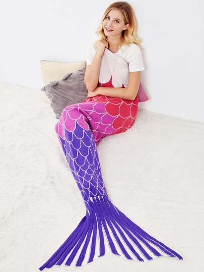 Multicolor Textured Fish Tail Mermaid Blanket