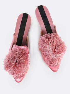 Pom Pom Loafer Slides MAUVE