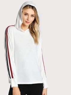 Shoulder Stripe Band Hoodie WHITE