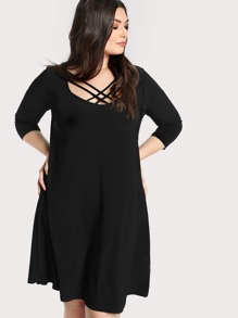 Criss Cross Front Quarter Sleeve Dress