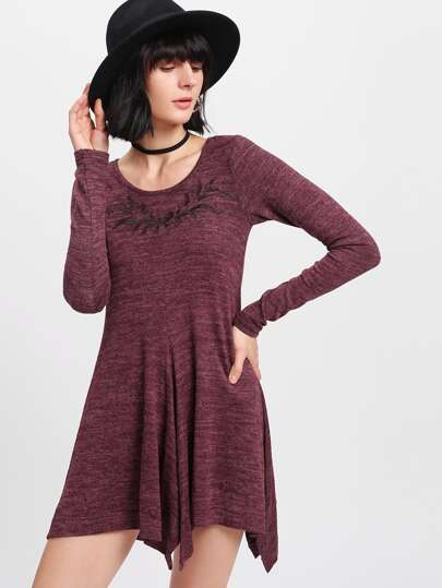 Embroidered Hanky Hem Swing Tee Dress