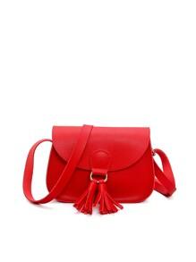 Tassel Embellished Saddle Bag