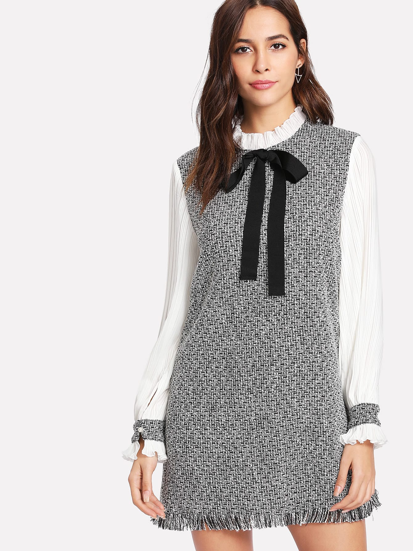 Contrast Pleated Sleeve Frayed Hem Tweed Dress rhinestone detail frayed edge tweed skirt