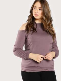 Cold Shoulder Long Sleeve Distressed Top PURPLE