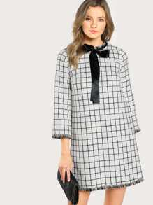 Tie Neck Frayed Trim Grid Tweed Dress