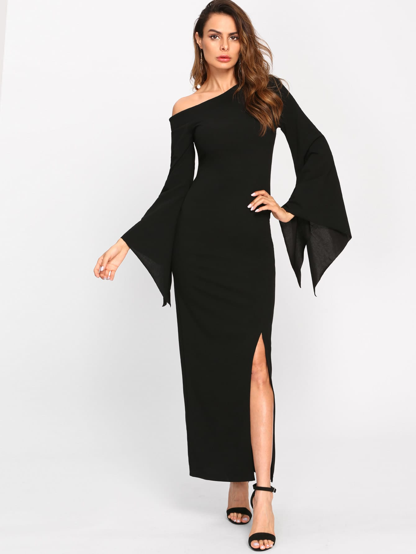 Asymmetric Shoulder Fluted Sleeve Dress v notch pearl leaf chain detail fluted sleeve dress