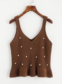 Frill Hem Pearl Detail Vest Sweater