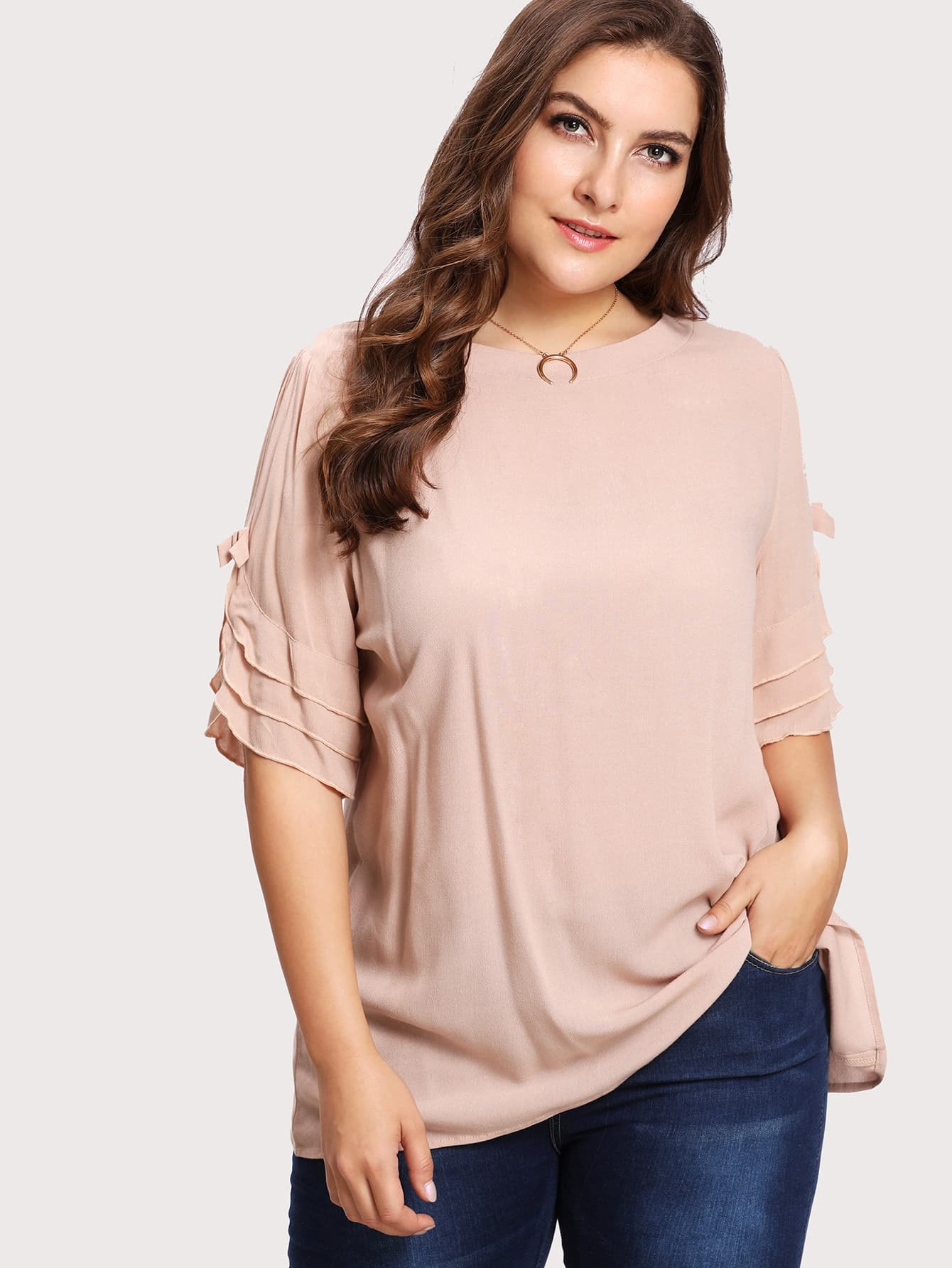 Image of Bow Detail Tiered Frill Sleeve Top