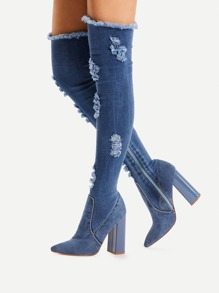 Side Zipper High Heeled Denim Boots