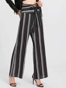 Self Belted Vertical Striped Pants
