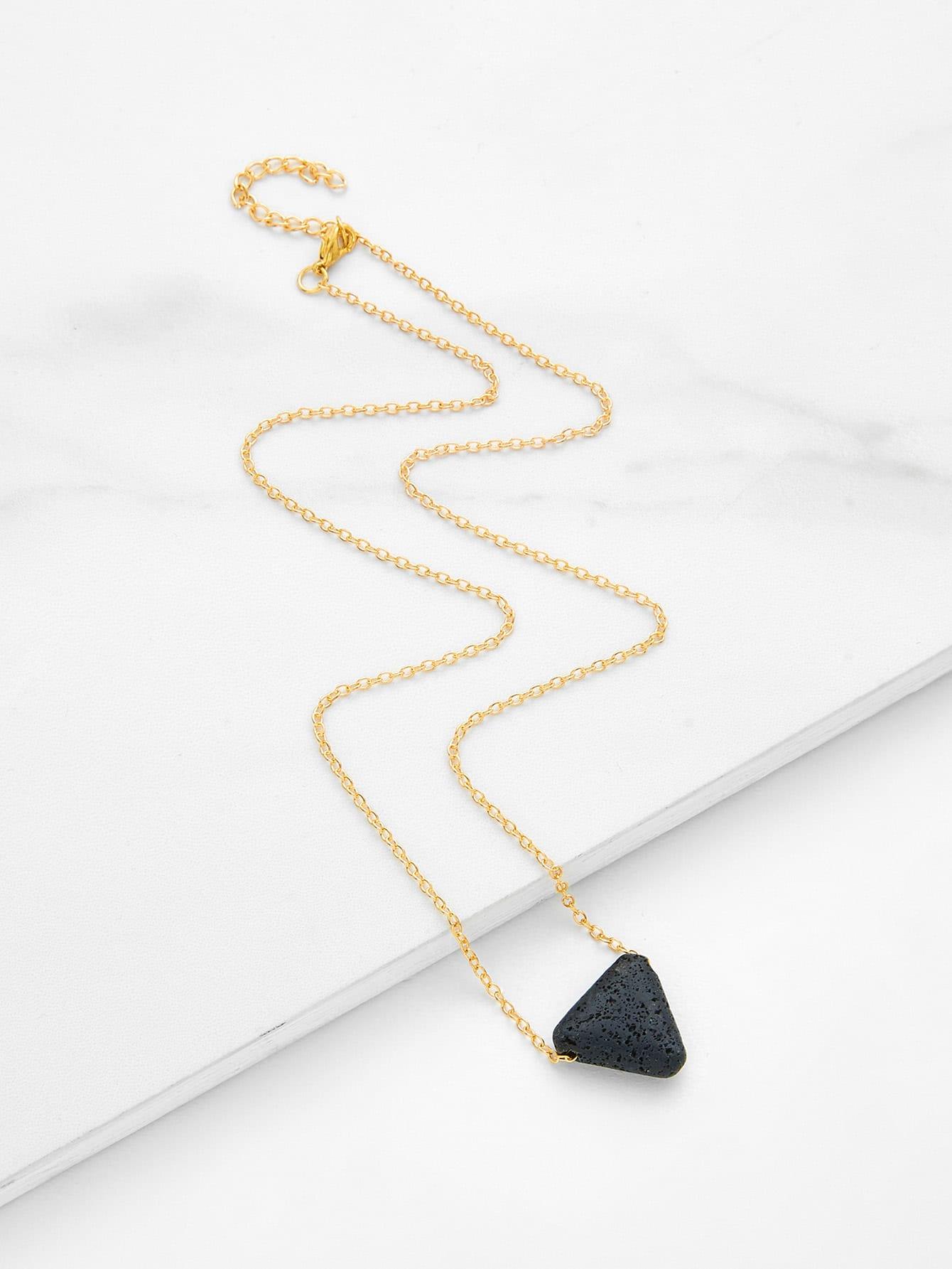 Contrast Triangle Pendant Link Necklace triangle fringed paillette pendant necklace
