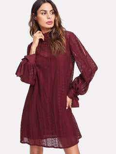 Tie Cuff Split Sleeve Lace 2 In 1 Dress