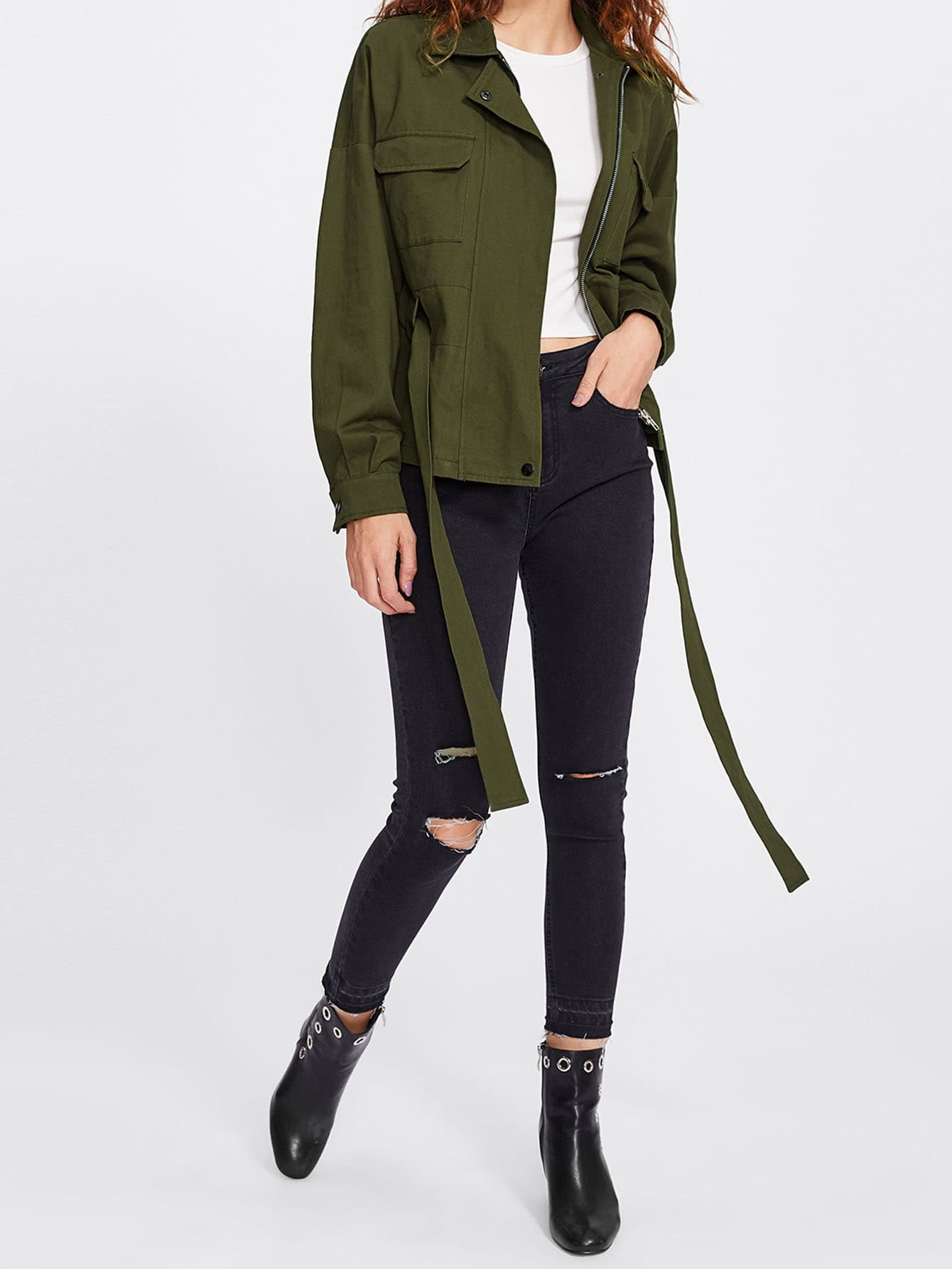 Drop Shoulder Drawstring-Belt Detail Utility Jacket drop shoulder grommet tie detail sweatshirt