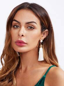 Faux Pearl Top Tassel Earrings