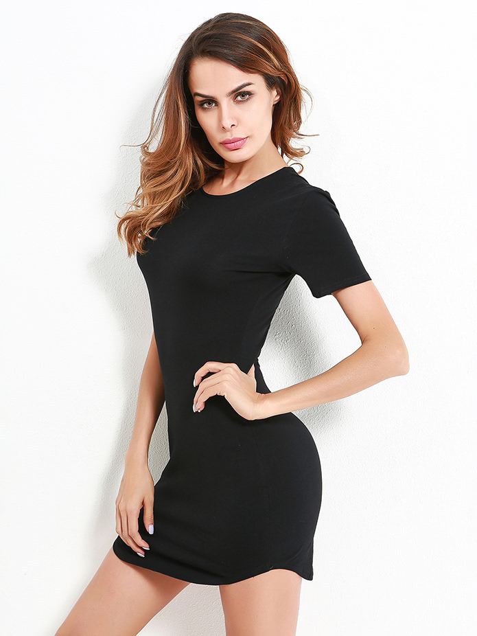 Curved Hem Bodycon Dress batwing sleeve pocket side curved hem textured dress