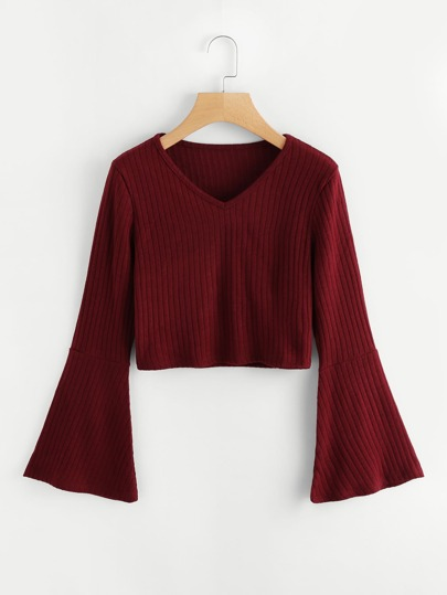 Fluted Sleeve V Neckline Ribbed Knit Top