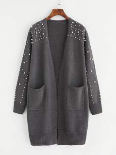 Pearl Beaded Pocket Patched Longline Cardigan