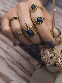 Oval Stone Ring Set 5pcs
