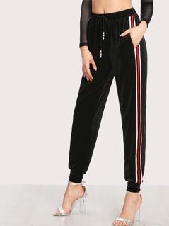 Striped Tape Applique Velvet Pants