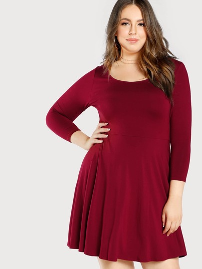 Scoop Neck Quarter Sleeve Dress