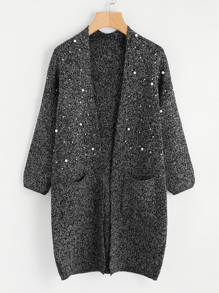Pearl Beading Flecked Open Front Cardigan