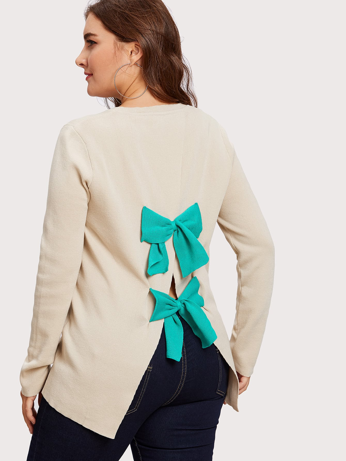 Image of Bow Detail Overlay Back Jumper