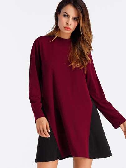 Cut And Sew Color Block Shift Dress