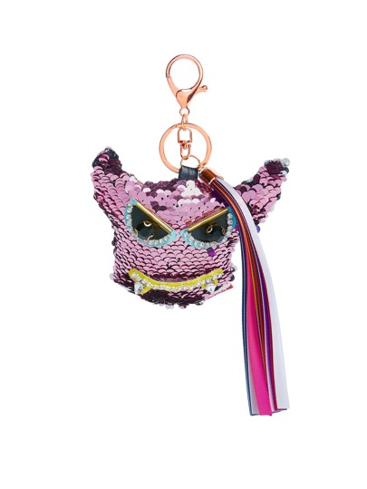 Sequin Overlay Design Keychain With Tassel