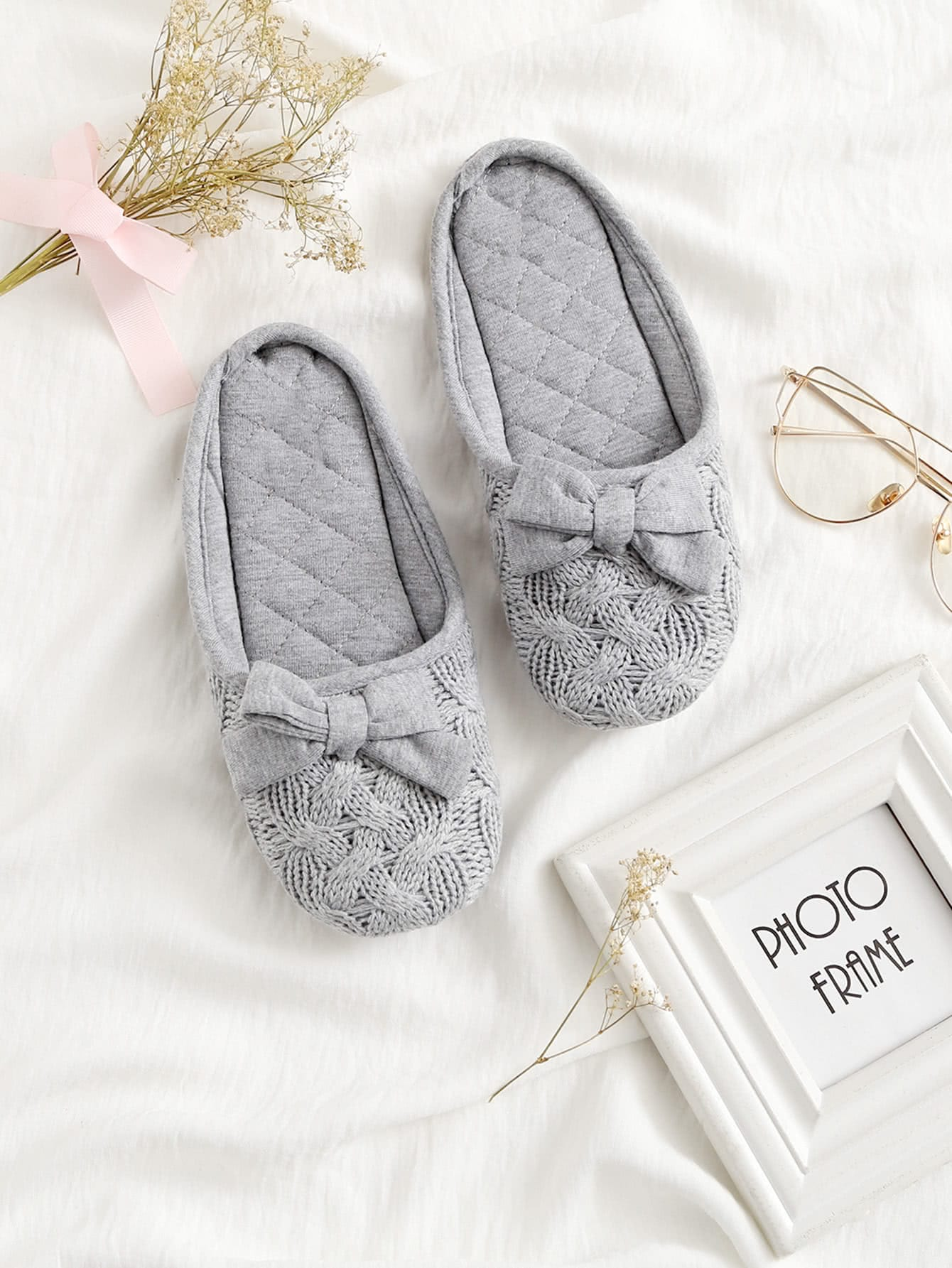 Image of Bow Decorated Flat Slippers